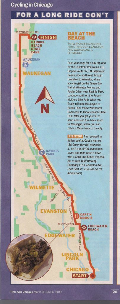 Time out bike trips article 032017 - capnemoschicago.com Map Of Chicago Lakefront on