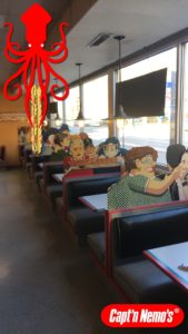 capt'n nemo's lakeview location dining room image with snapchat filter over lay geofence